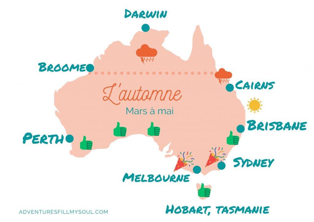 carte australie saison automne