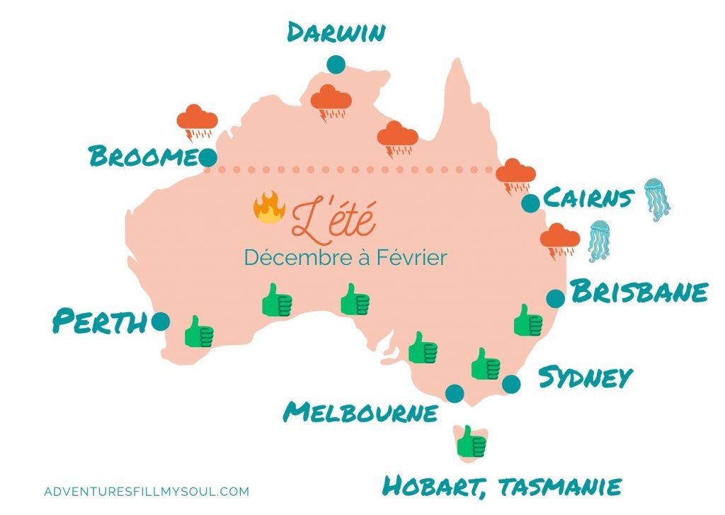carte australie saison ete