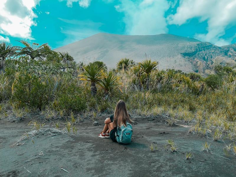 Vue du volcan depuis la route