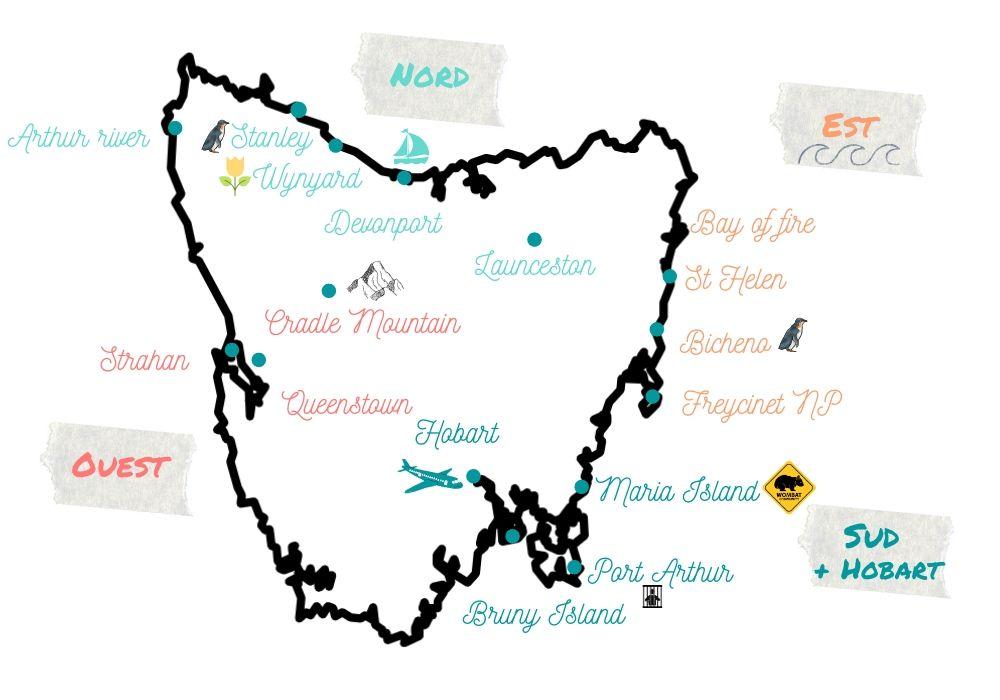 Carte de la Tasmanie
