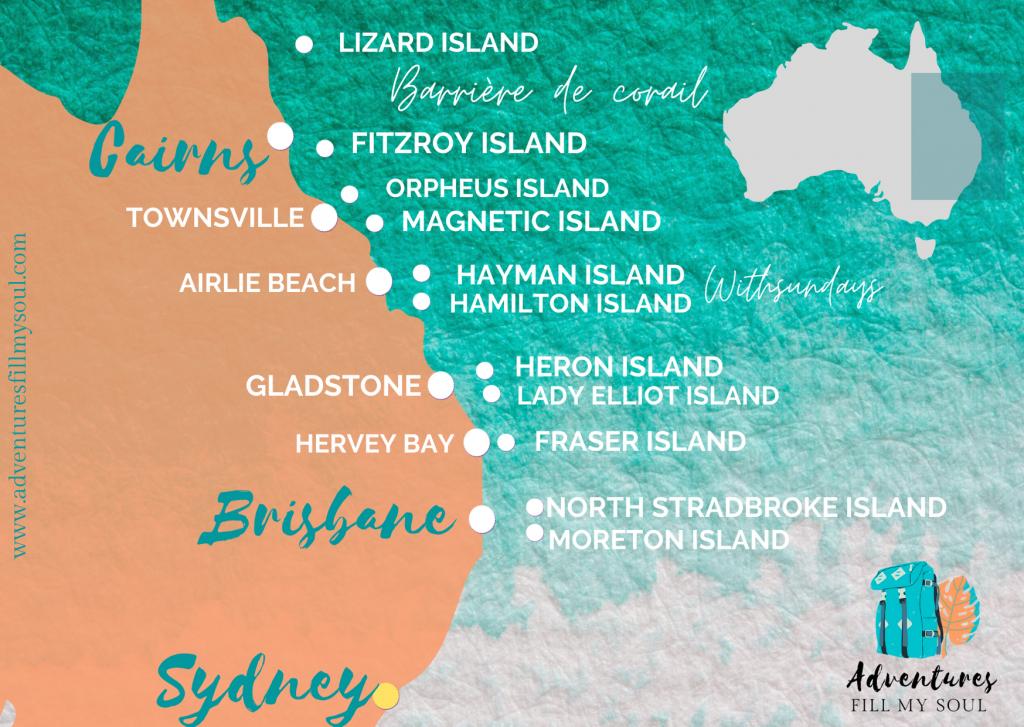 Cartes des îles de la Grande Barrière de Corail