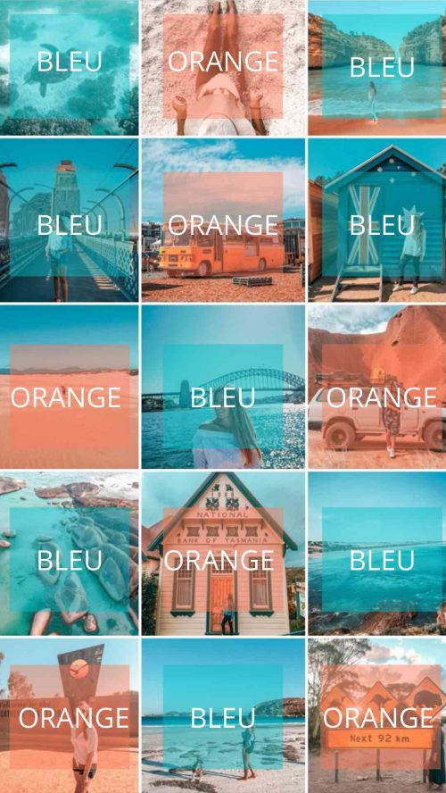 couleur feed bleu et orange